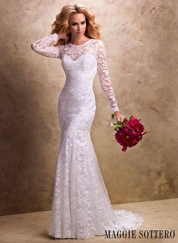 Кружевные свадебные платья с длинными рукавами